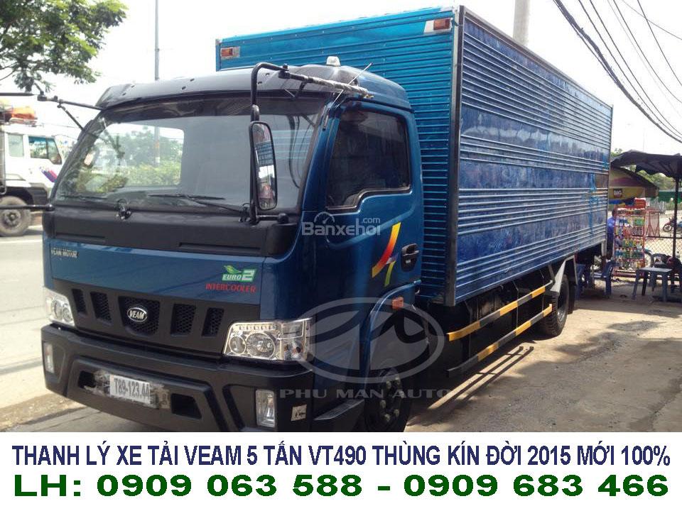 xe tải 5 tấn giá rẻ - xe tải 5 tấn thùng kín veam vt490 đời 2015 mới 100% giá thanh lý